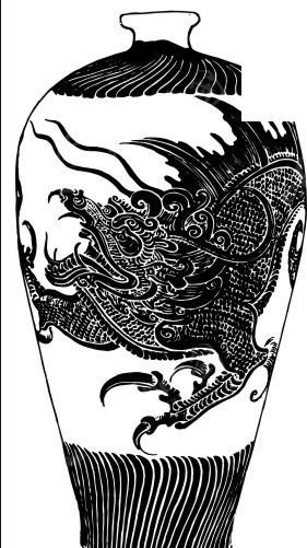 手绘带龙形图案陶瓷瓶