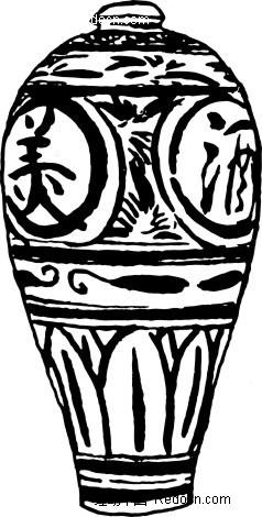 手绘古典花纹的陶瓷瓶图片