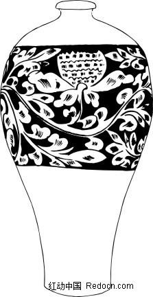 手绘紧口带花纹的陶瓷花瓶