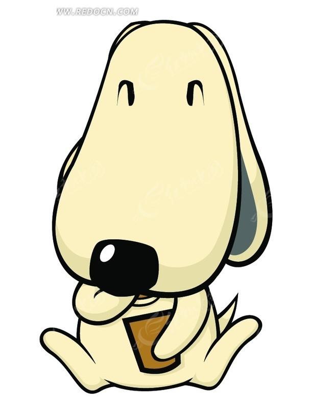 抱着书本 小狗 可爱 卡通