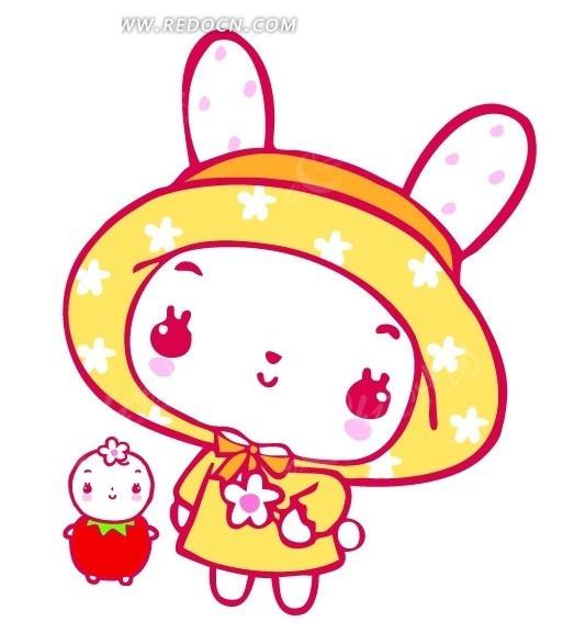 可爱的小白兔和草莓宝宝psd素材