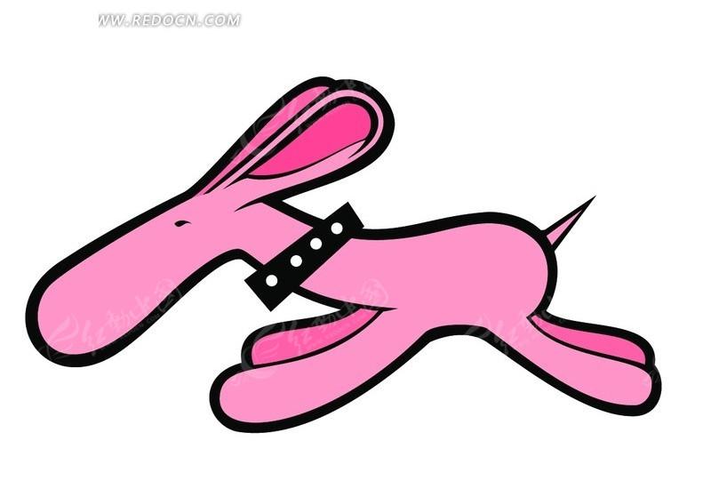 粉色 奔跑 小狗 psd素材 卡通人物 漫画人物 psd分层素材