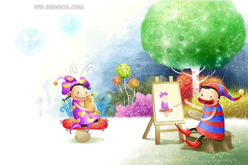 画画 卡通 小朋友 插画 树木 画板 花朵 psd素材 卡通人物 漫画人物 p