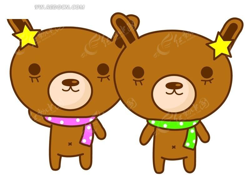 2只围着围巾的可爱小熊psd素材