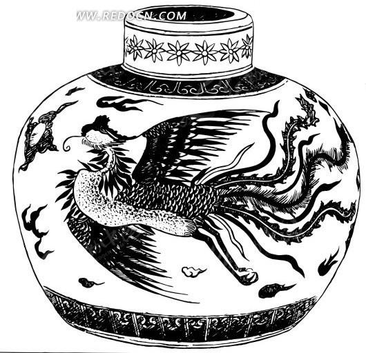 矢量带花纹的陶瓷罐