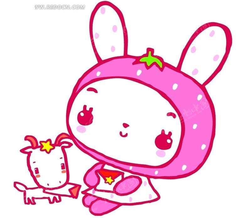 可爱小白兔和小狗psd素材