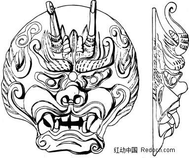 中国古代雕刻 龙头正面和侧面AI素材免费下载 编号1430799 红动网