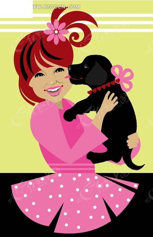 抱着小狗的小女孩