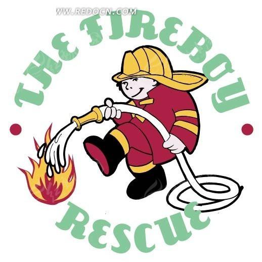 手绘卡通救火的消防员
