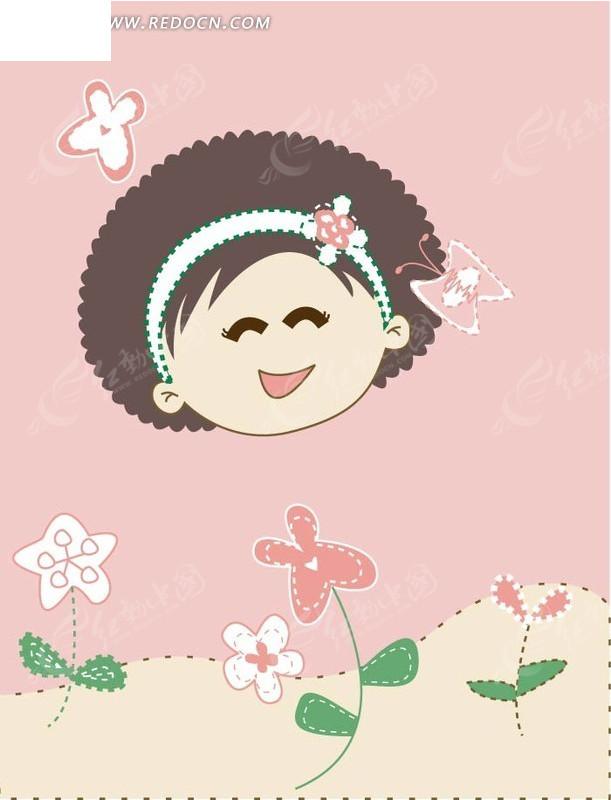 眯眼微笑的女孩与花朵ai矢量文件