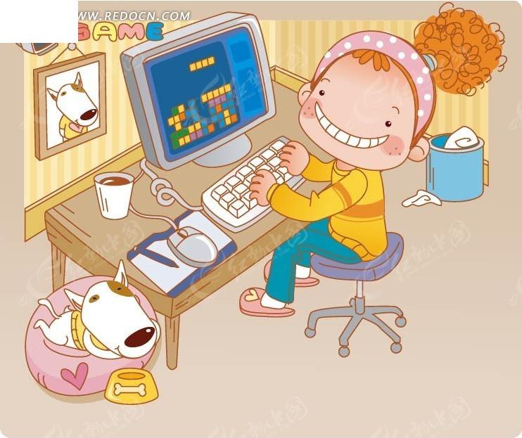 卡通玩游戏的女生