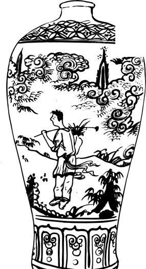 中国古代器物-瓶子上的人物和云纹