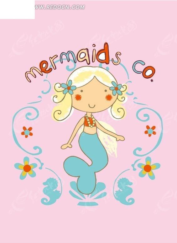 可爱的卡通美人鱼