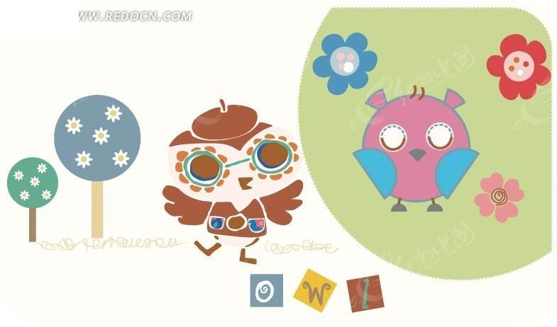 戴博士帽和眼镜的飞鸟和花朵树木