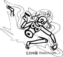 中国古典图案 空中舞蹈的神仙AI素材免费下载 红动网