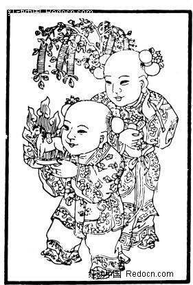 中国年画-两个童子构成的图案