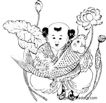 中国古典图案 年年有余年画矢量图 古典人物