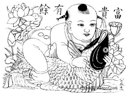 中国古典图案-富贵有余年画