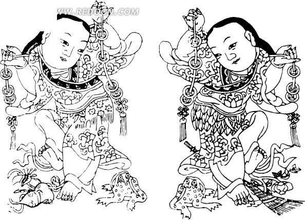 中国年画-拿着铜钱串的两个童子