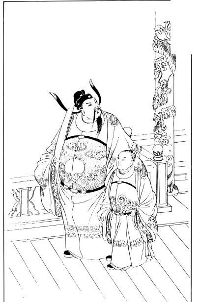 中国古代绘画-穿着官服的男子和童子