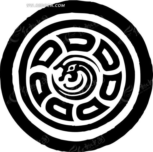 中国古典图案-抽象龙纹和几何形构成的圆形图案