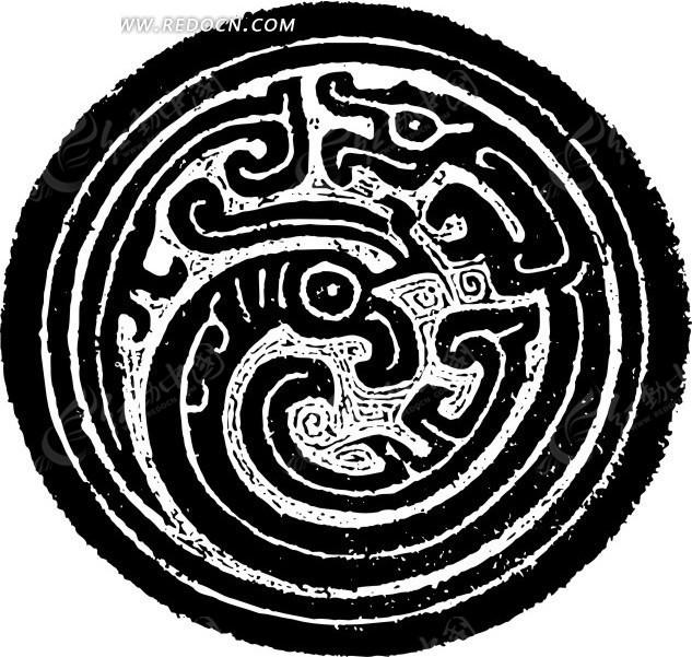中国古典图案-抽象卷曲纹凤凰构成的斑驳的圆形图案