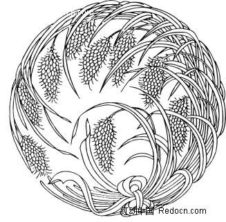 手绘圆形丰收稻谷图案矢量图