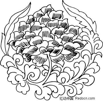 圆形传统花纹线描图_花纹花边_红动手机版