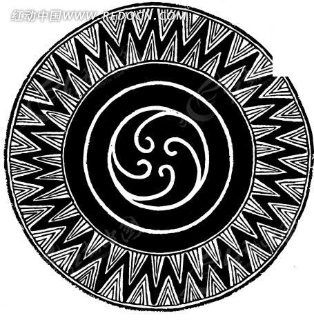 黑白圆形太阳图腾ai矢量文件