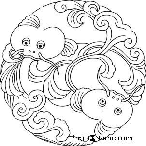 圆形鱼纹图案瓦当素材