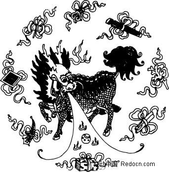 中国古典图案-喷水的神兽和彩带构成的圆形图案