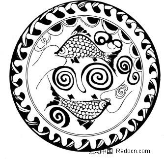 中国古典图案-鱼和卷曲纹构成的圆形图案
