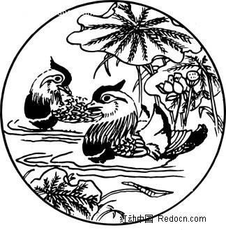 传统图案鸳鸯戏水图案