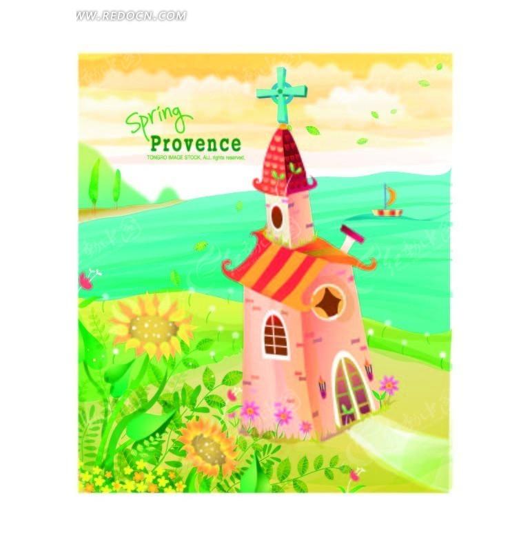 美丽的卡通城堡和大海插画ai素材矢量图免费下载