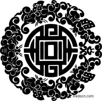 中国古典图案-动物和几何形构成的精美圆形图案