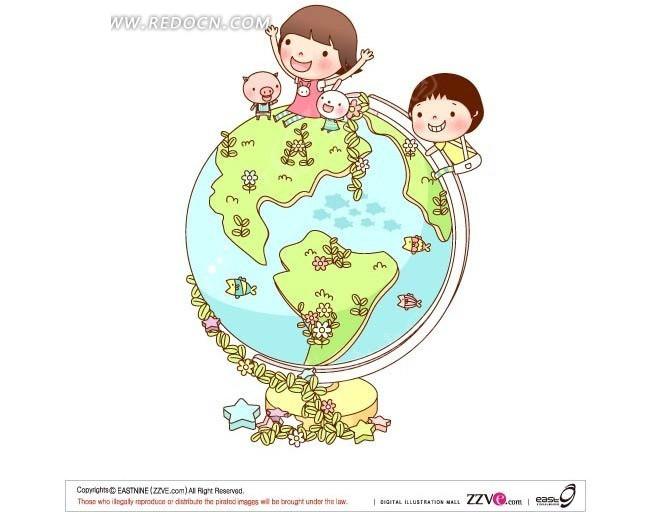 坐在地球仪上的小朋友和小动物