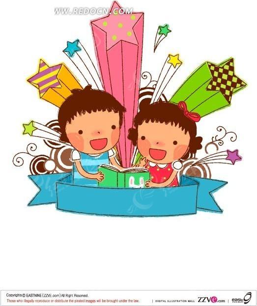 下在看书的小孩卡通素材 ai免费下载_卡通形象