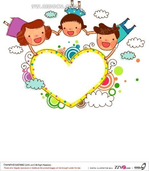 三个手拉手飞在空中的卡通小孩AI素材免费下载 编号1439737 红动网图片
