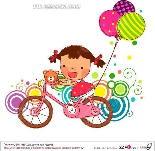 手绘骑单车的小女孩