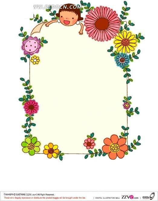 美丽花朵围成的边框ai素材图片
