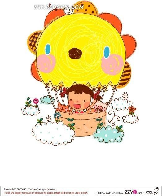 手绘可爱的氢气球上小女孩和猫咪