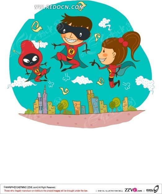 扮超人的小孩矢量图_卡通形象