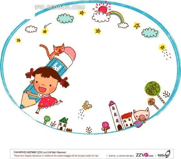 拿着大笔画椭圆的女孩矢量图 卡通形象