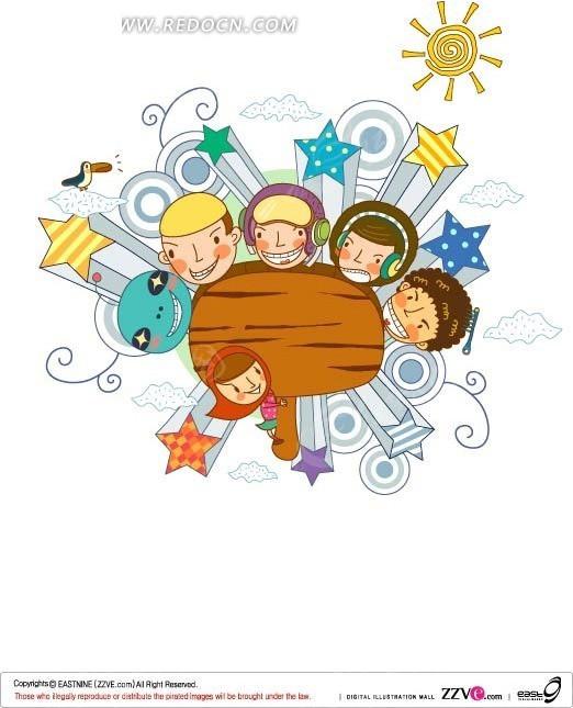 手绘围绕木牌的潮流孩子和外星人