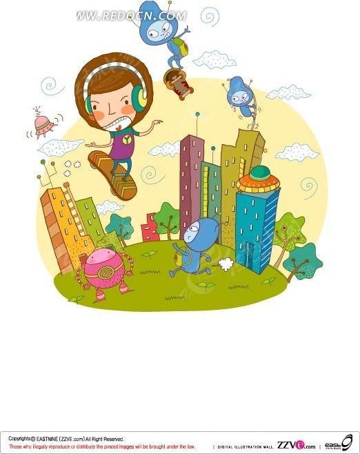 手绘在科技城市浮空滑板的男孩