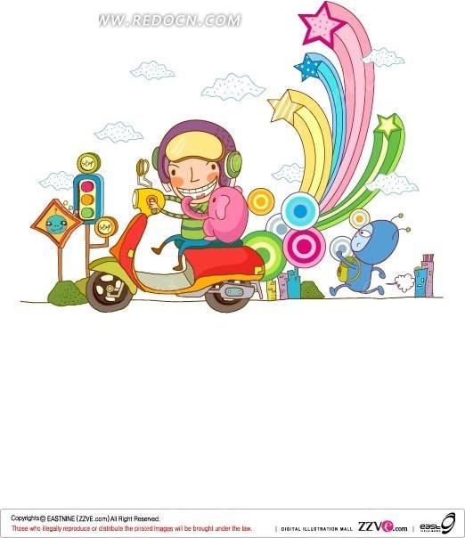 手绘摩托车上男孩和迷你象