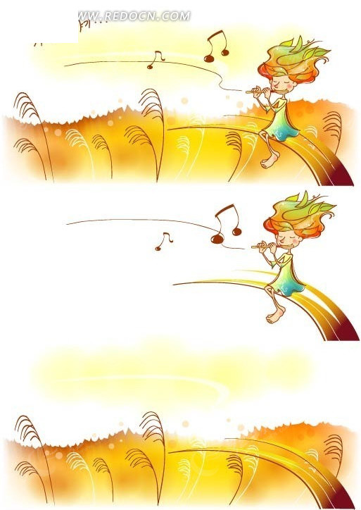 手绘韩国卡通插画-吹笛子的小女孩