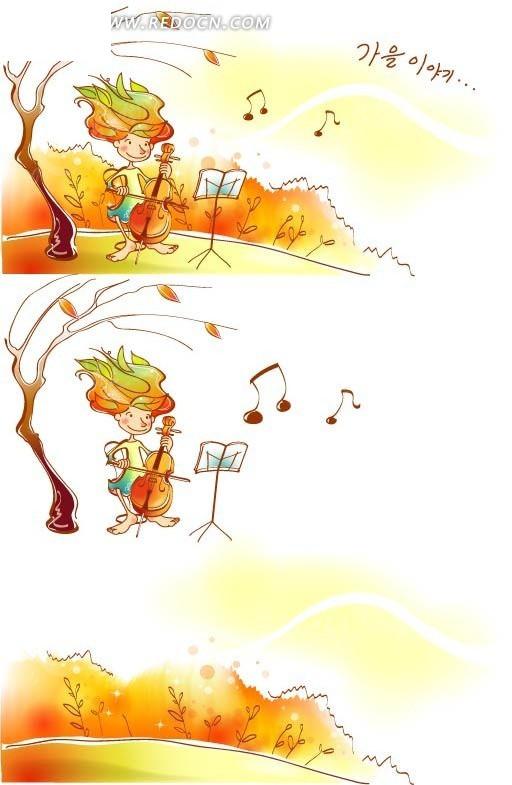 韩国手绘枯树下拉琴的人物