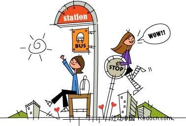 女孩 公交车站