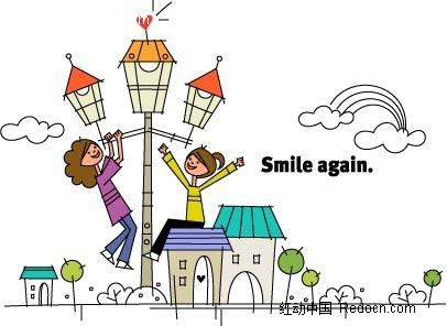 女孩 房屋 路灯 开心 卡通人物 绘画 插画 矢量素材 卡通人物图片